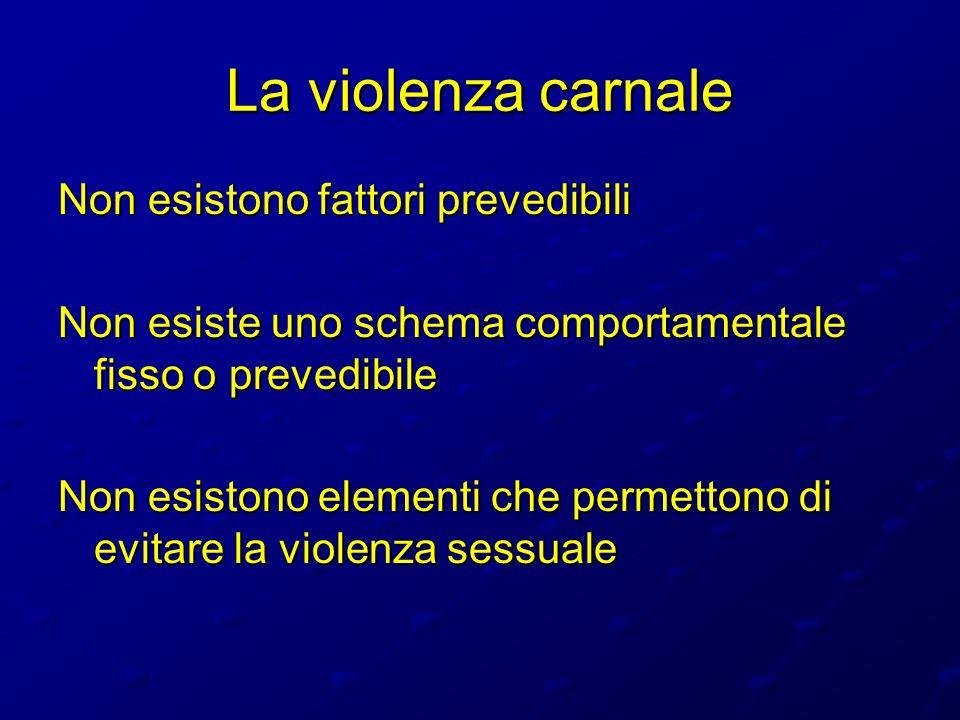 La violenza carnale Non esistono fattori prevedibili Non esiste uno schema comportamentale fisso o prevedibile Non esistono elementi che permettono di