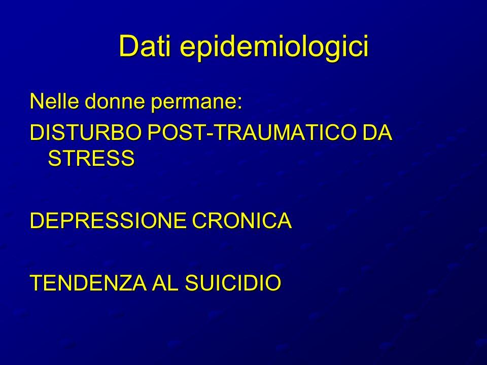 Dati epidemiologici Nelle donne permane: DISTURBO POST-TRAUMATICO DA STRESS DEPRESSIONE CRONICA TENDENZA AL SUICIDIO