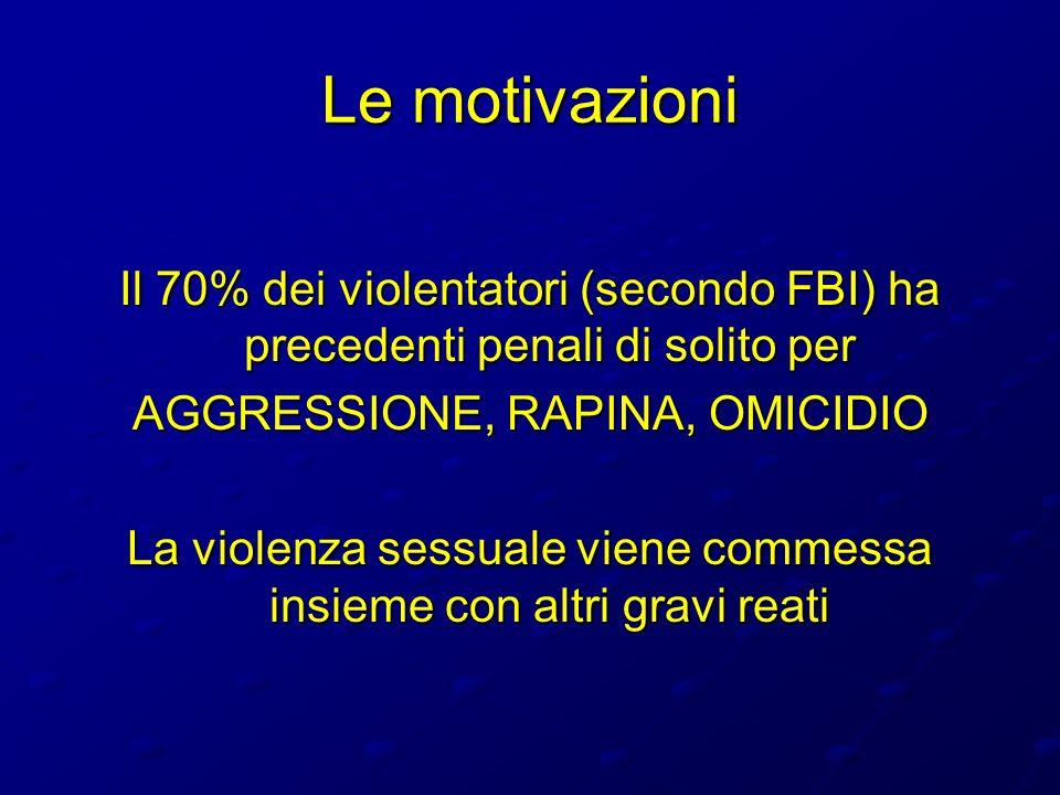Le motivazioni Il 70% dei violentatori (secondo FBI) ha precedenti penali di solito per AGGRESSIONE, RAPINA, OMICIDIO La violenza sessuale viene comme