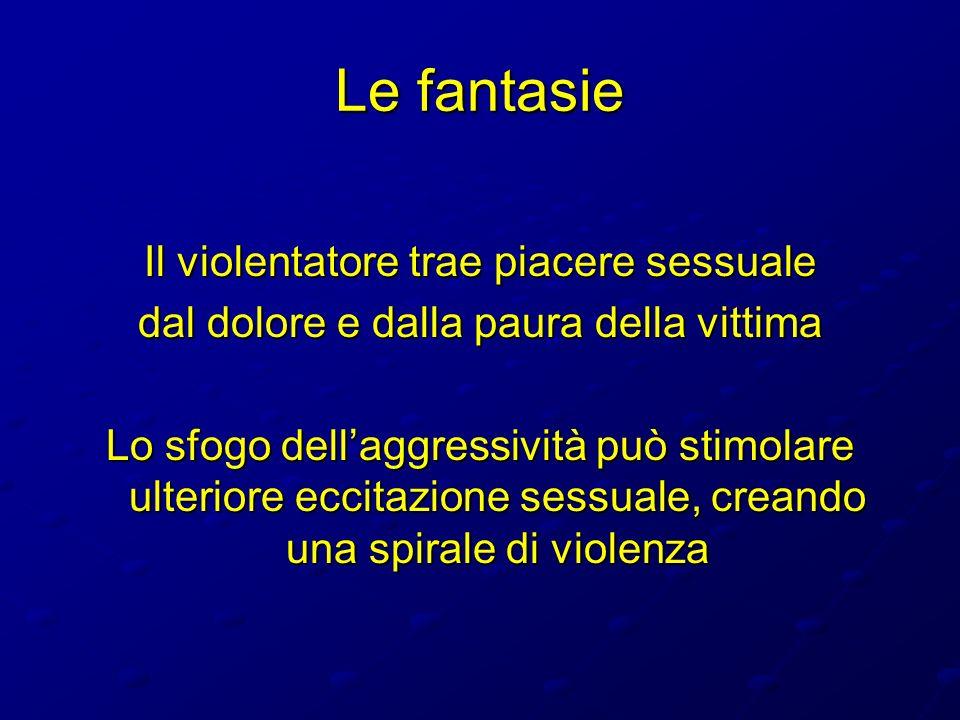 Le fantasie Il violentatore trae piacere sessuale dal dolore e dalla paura della vittima Lo sfogo dellaggressività può stimolare ulteriore eccitazione