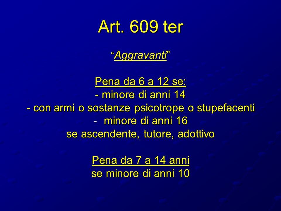 Art. 609 ter Aggravanti Aggravanti Pena da 6 a 12 se: - minore di anni 14 - con armi o sostanze psicotrope o stupefacenti -minore di anni 16 se ascend