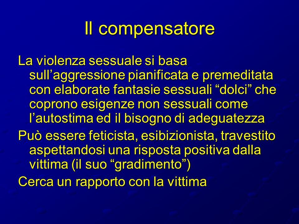 Il compensatore La violenza sessuale si basa sullaggressione pianificata e premeditata con elaborate fantasie sessuali dolci che coprono esigenze non