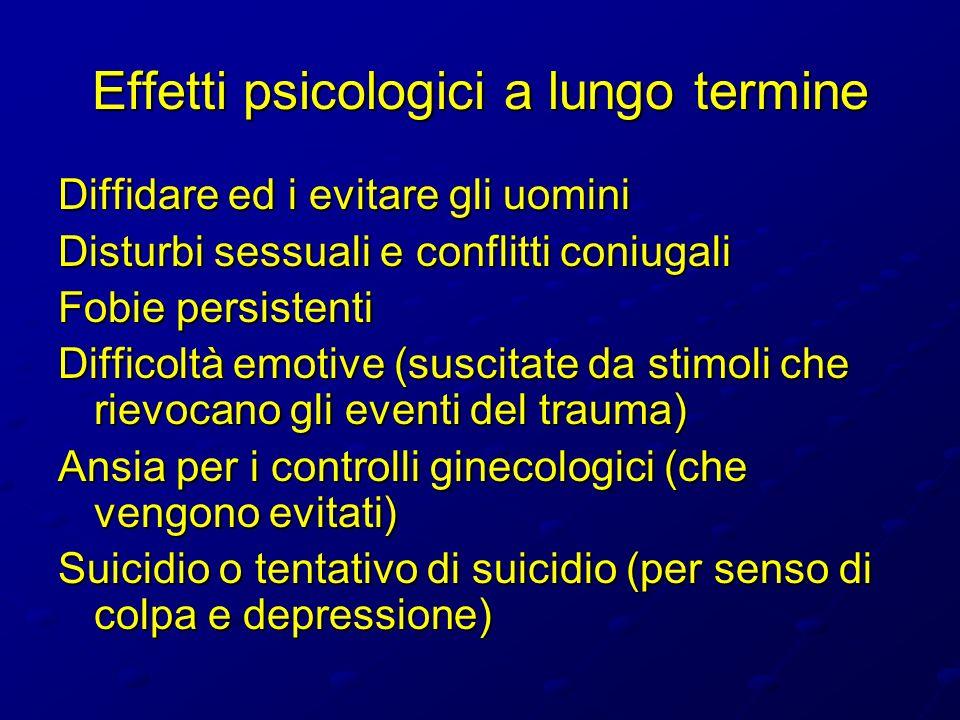 Effetti psicologici a lungo termine Diffidare ed i evitare gli uomini Disturbi sessuali e conflitti coniugali Fobie persistenti Difficoltà emotive (su