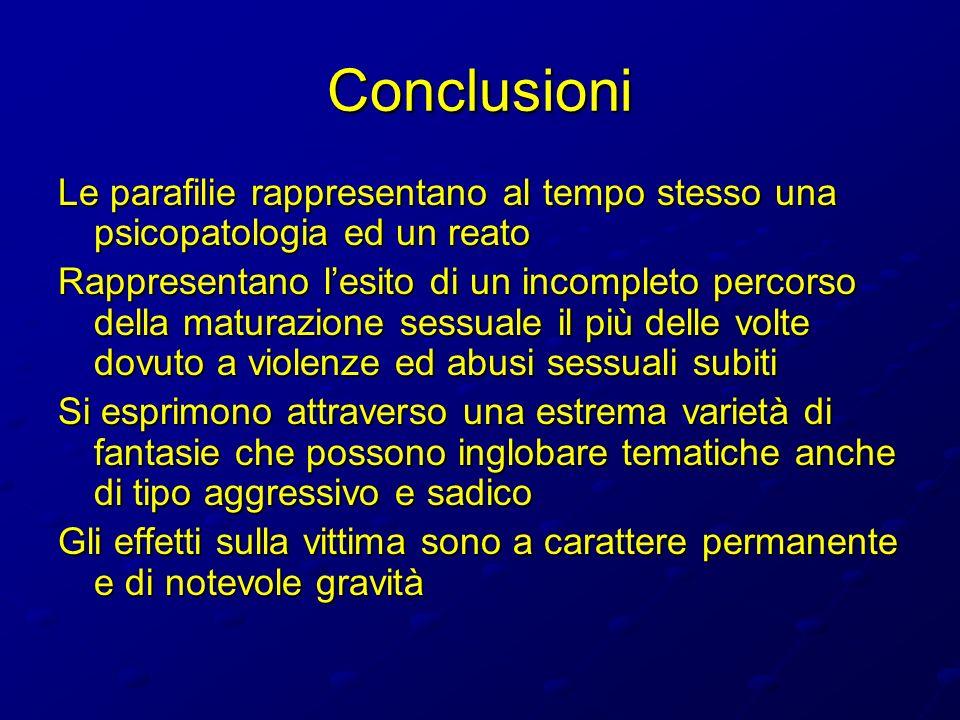 Conclusioni Le parafilie rappresentano al tempo stesso una psicopatologia ed un reato Rappresentano lesito di un incompleto percorso della maturazione