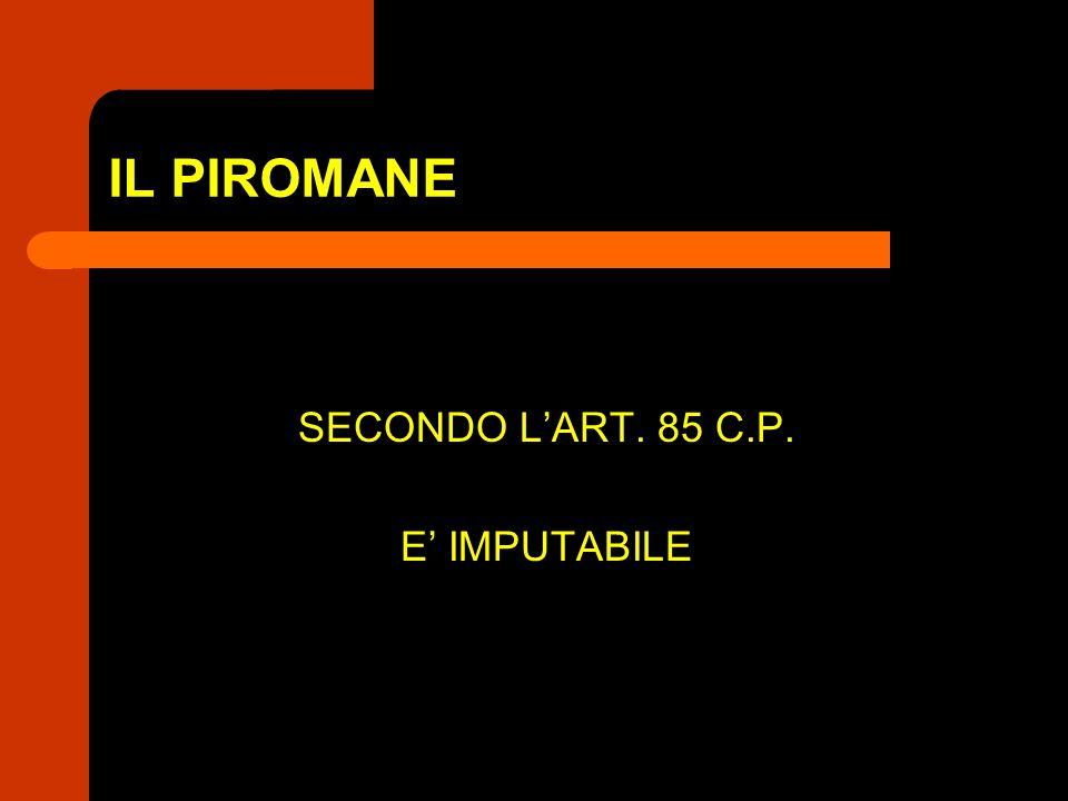IL PIROMANE SECONDO LART. 85 C.P. E IMPUTABILE