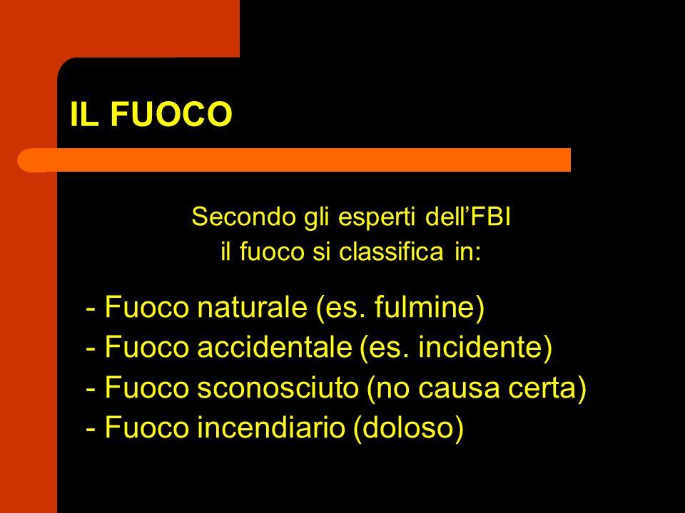 IL FUOCO Secondo gli esperti dellFBI il fuoco si classifica in: - Fuoco naturale (es. fulmine) - Fuoco accidentale (es. incidente) - Fuoco sconosciuto