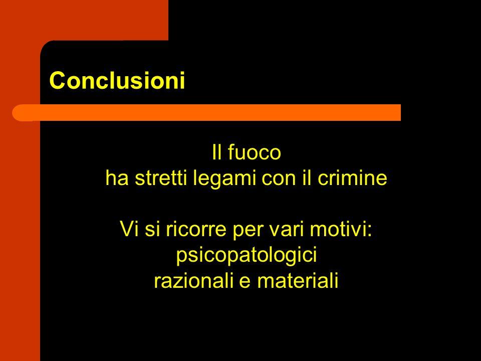 Conclusioni Il fuoco ha stretti legami con il crimine Vi si ricorre per vari motivi: psicopatologici razionali e materiali