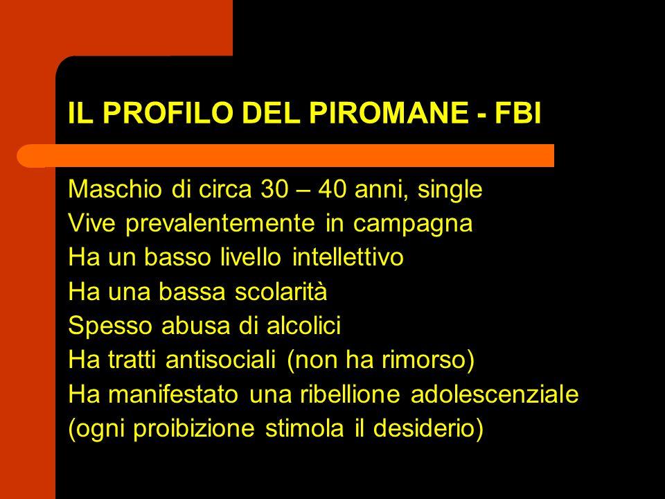 IL PROFILO DEL PIROMANE - FBI Maschio di circa 30 – 40 anni, single Vive prevalentemente in campagna Ha un basso livello intellettivo Ha una bassa sco