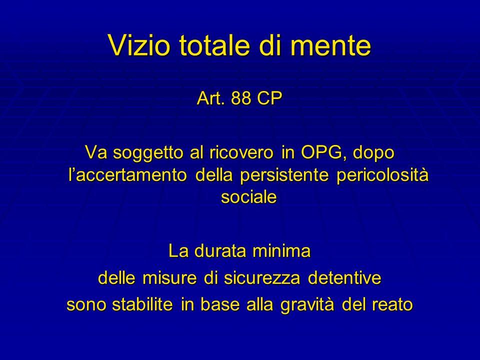 Vizio totale di mente Art. 88 CP Va soggetto al ricovero in OPG, dopo laccertamento della persistente pericolosità sociale La durata minima delle misu