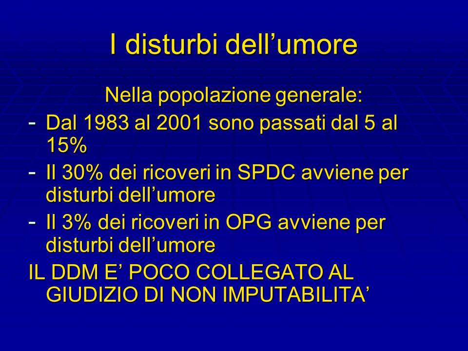 I disturbi dellumore Nella popolazione generale: - Dal 1983 al 2001 sono passati dal 5 al 15% - Il 30% dei ricoveri in SPDC avviene per disturbi dellu