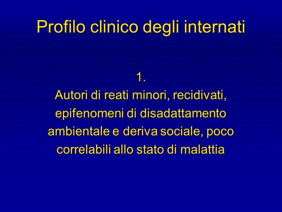 Profilo clinico degli internati 1. Autori di reati minori, recidivati, epifenomeni di disadattamento ambientale e deriva sociale, poco correlabili all