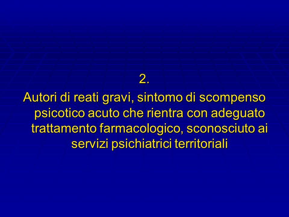 2. Autori di reati gravi, sintomo di scompenso psicotico acuto che rientra con adeguato trattamento farmacologico, sconosciuto ai servizi psichiatrici