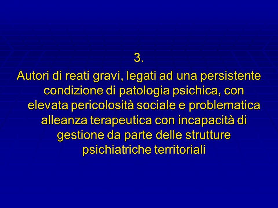 3. Autori di reati gravi, legati ad una persistente condizione di patologia psichica, con elevata pericolosità sociale e problematica alleanza terapeu