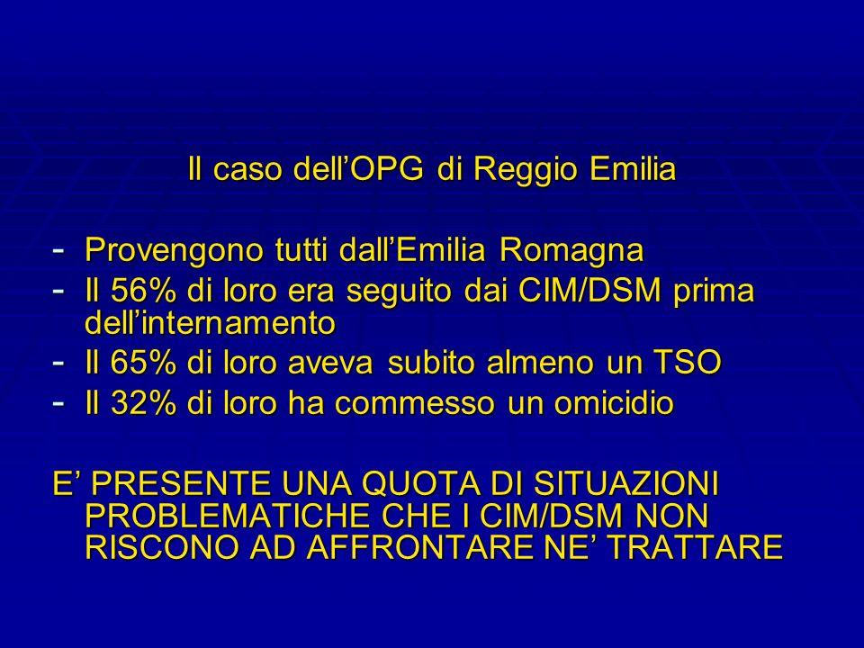 Il caso dellOPG di Reggio Emilia - Provengono tutti dallEmilia Romagna - Il 56% di loro era seguito dai CIM/DSM prima dellinternamento - Il 65% di lor
