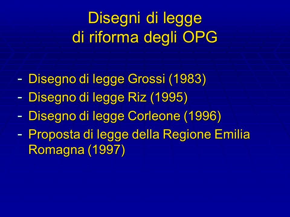 Disegni di legge di riforma degli OPG - Disegno di legge Grossi (1983) - Disegno di legge Riz (1995) - Disegno di legge Corleone (1996) - Proposta di