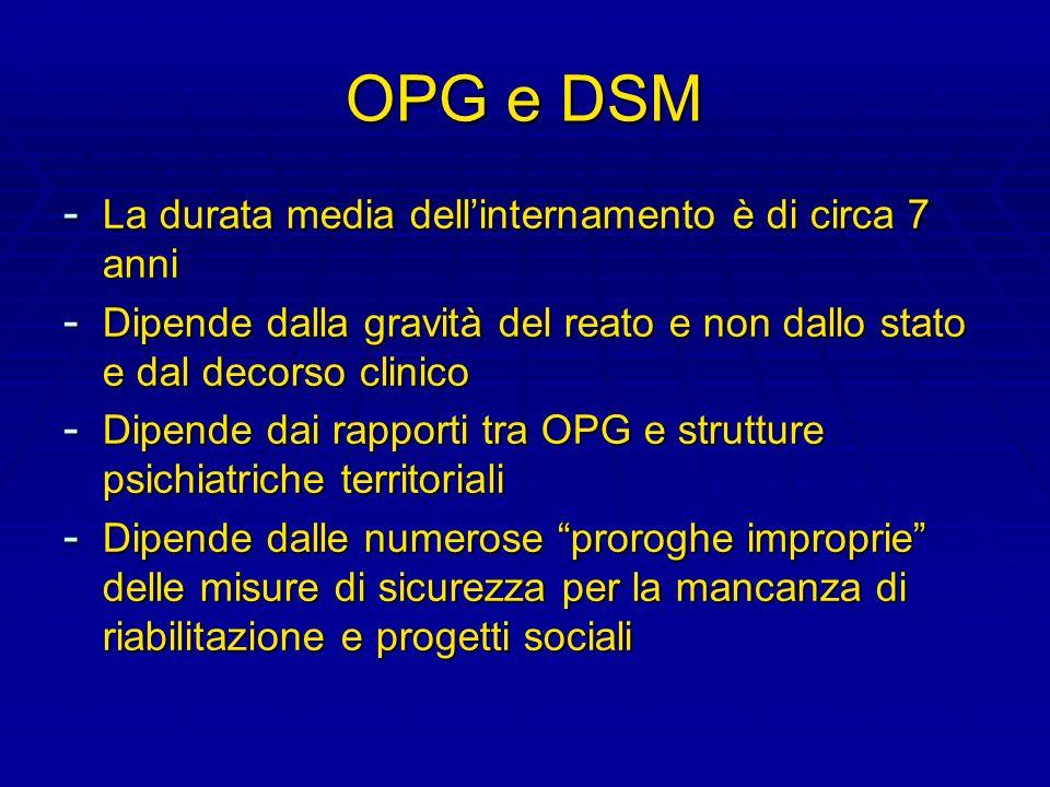 OPG e DSM - La durata media dellinternamento è di circa 7 anni - Dipende dalla gravità del reato e non dallo stato e dal decorso clinico - Dipende dai