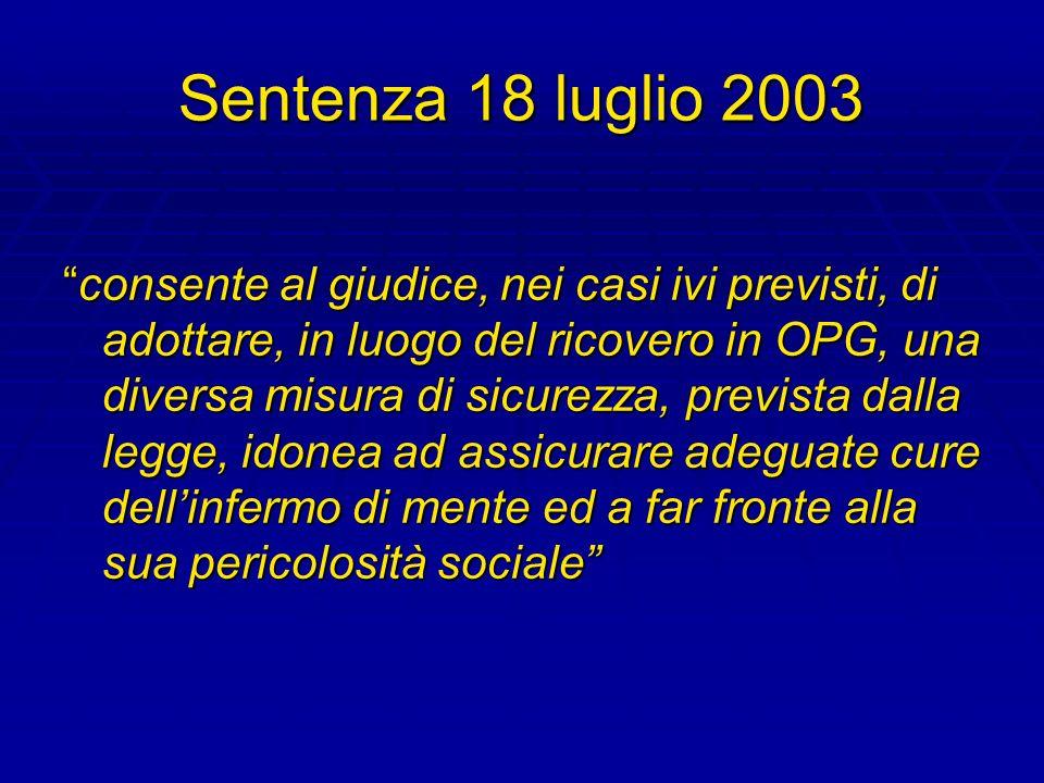 Sentenza 18 luglio 2003 consente al giudice, nei casi ivi previsti, di adottare, in luogo del ricovero in OPG, una diversa misura di sicurezza, previs