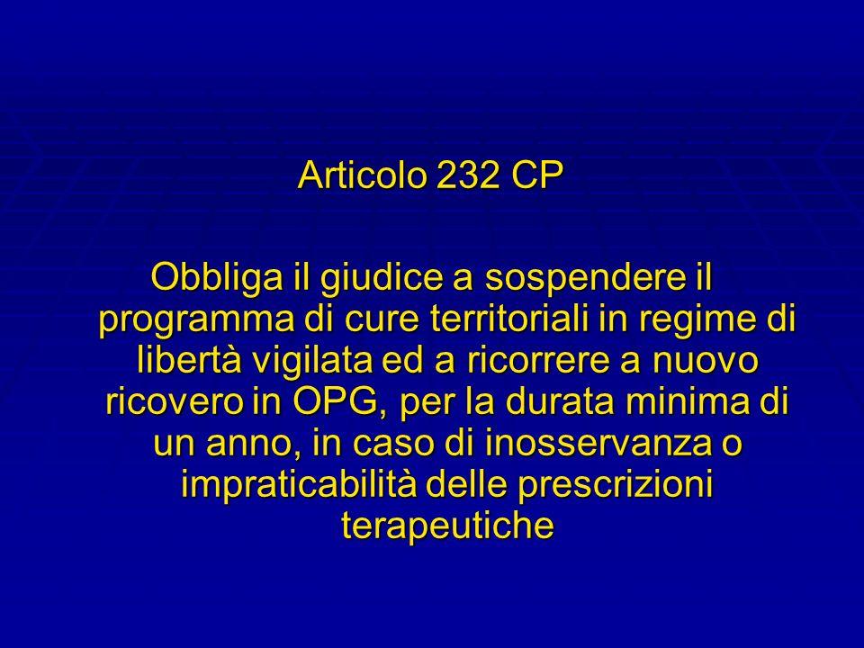 Articolo 232 CP Obbliga il giudice a sospendere il programma di cure territoriali in regime di libertà vigilata ed a ricorrere a nuovo ricovero in OPG