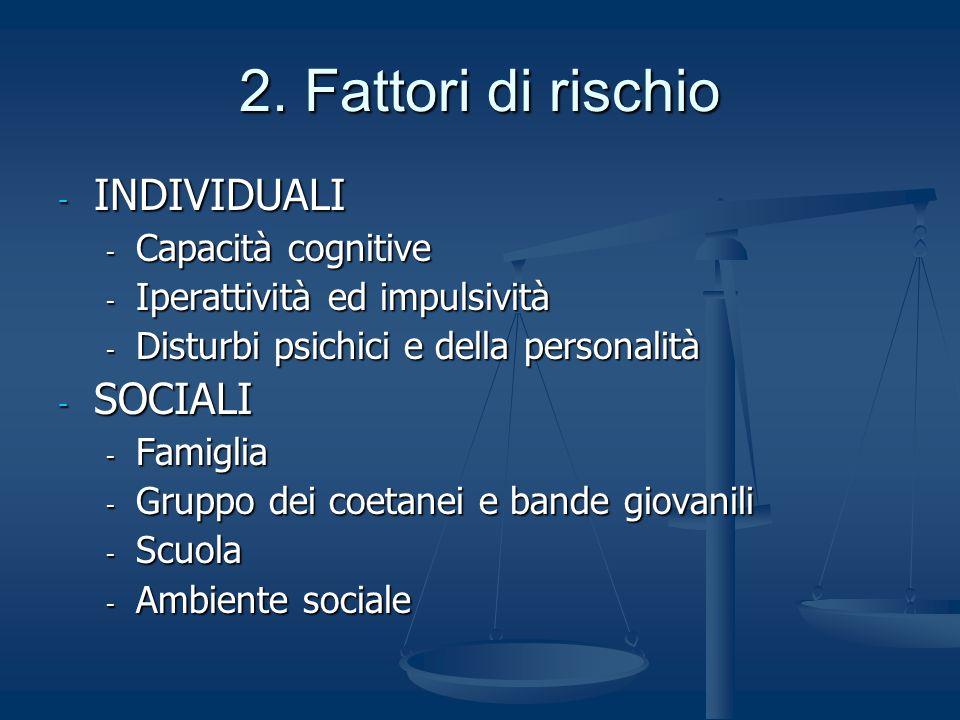 2. Fattori di rischio - INDIVIDUALI - Capacità cognitive - Iperattività ed impulsività - Disturbi psichici e della personalità - SOCIALI - Famiglia -