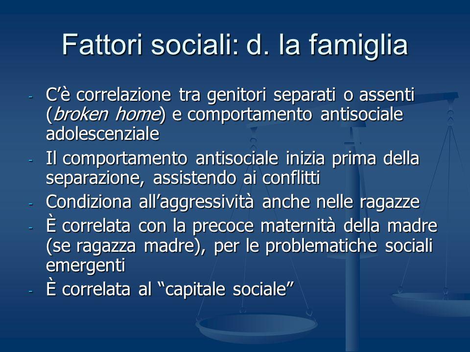 Fattori sociali: d. la famiglia - Cè correlazione tra genitori separati o assenti (broken home) e comportamento antisociale adolescenziale - Il compor
