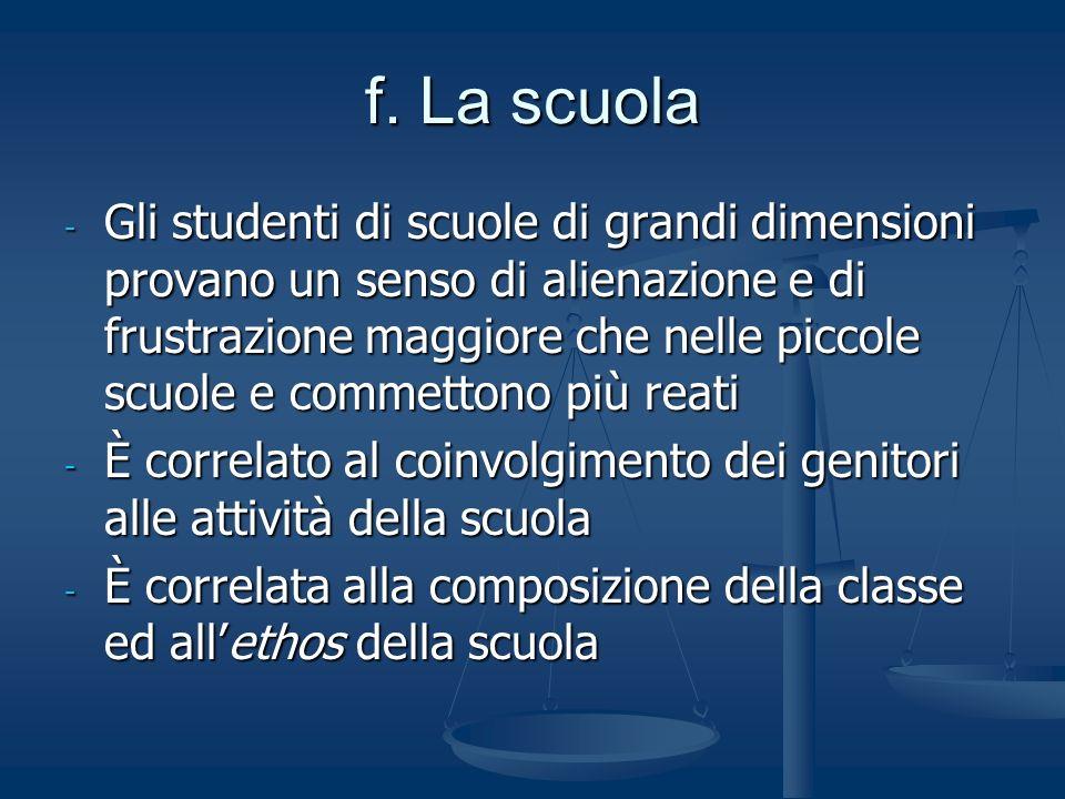 f. La scuola - Gli studenti di scuole di grandi dimensioni provano un senso di alienazione e di frustrazione maggiore che nelle piccole scuole e comme