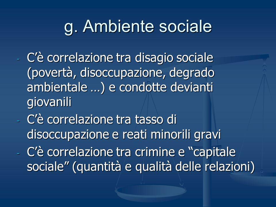 g. Ambiente sociale - Cè correlazione tra disagio sociale (povertà, disoccupazione, degrado ambientale …) e condotte devianti giovanili - Cè correlazi