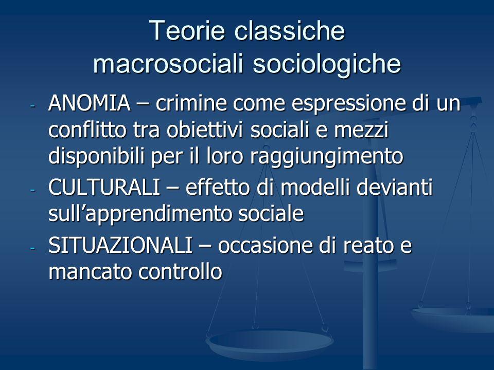 Teorie classiche macrosociali sociologiche - ANOMIA – crimine come espressione di un conflitto tra obiettivi sociali e mezzi disponibili per il loro r