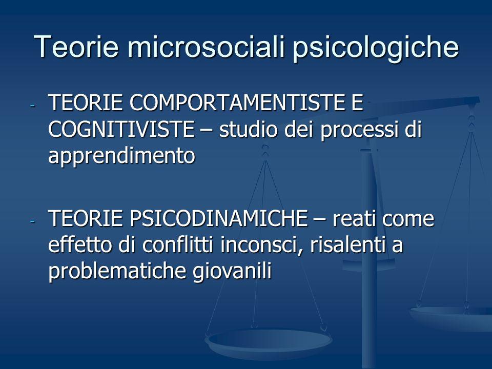 Teorie microsociali psicologiche - TEORIE COMPORTAMENTISTE E COGNITIVISTE – studio dei processi di apprendimento - TEORIE PSICODINAMICHE – reati come