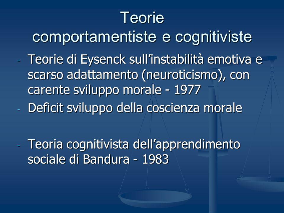 Teorie comportamentiste e cognitiviste - Teorie di Eysenck sullinstabilità emotiva e scarso adattamento (neuroticismo), con carente sviluppo morale -