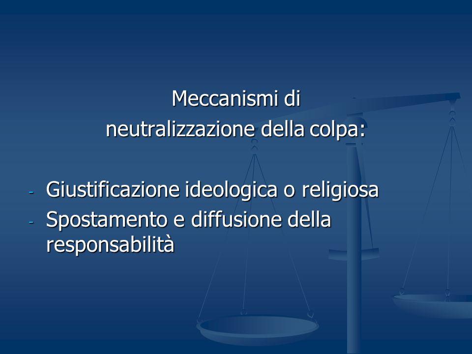 Meccanismi di neutralizzazione della colpa: - Giustificazione ideologica o religiosa - Spostamento e diffusione della responsabilità