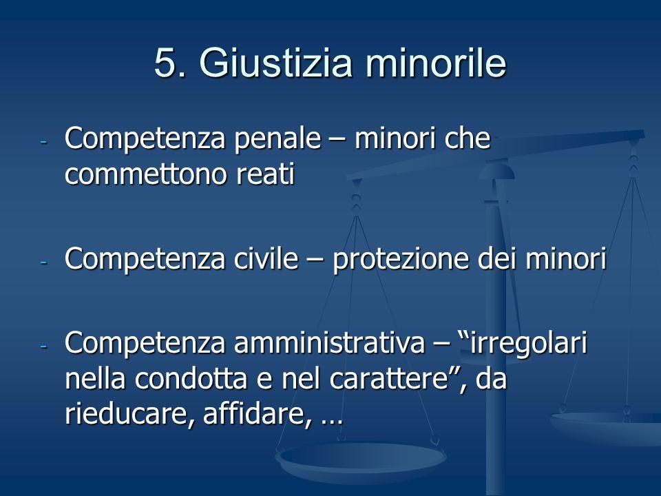 5. Giustizia minorile - Competenza penale – minori che commettono reati - Competenza civile – protezione dei minori - Competenza amministrativa – irre