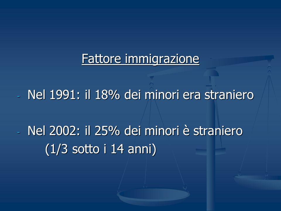 Fattore immigrazione - Nel 1991: il 18% dei minori era straniero - Nel 2002: il 25% dei minori è straniero (1/3 sotto i 14 anni)