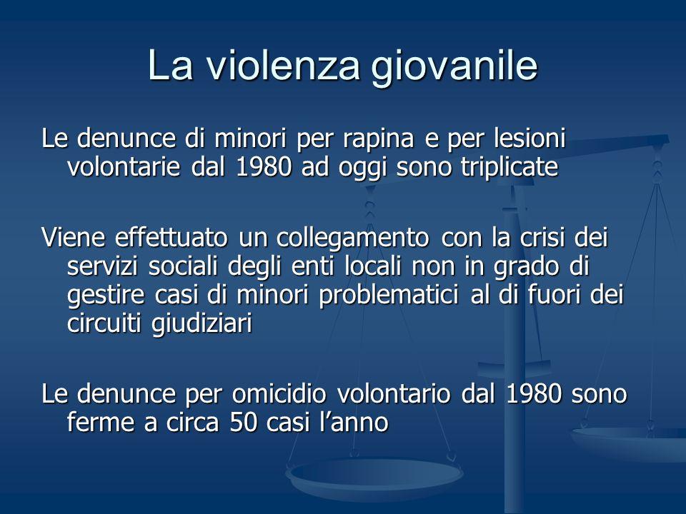 La violenza giovanile Le denunce di minori per rapina e per lesioni volontarie dal 1980 ad oggi sono triplicate Viene effettuato un collegamento con l