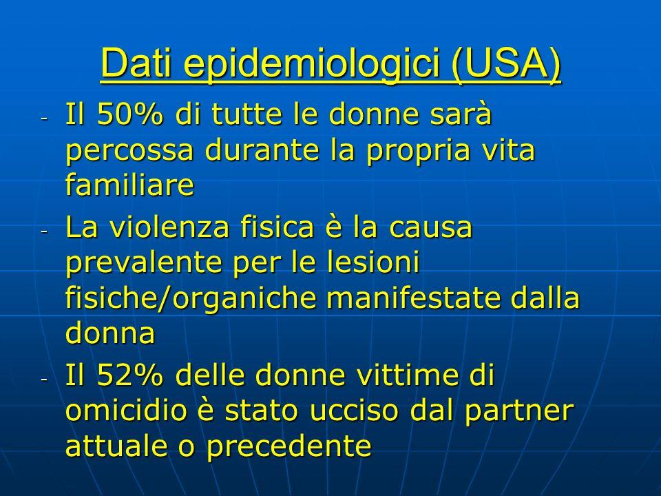 Dati epidemiologici (USA) - Il 50% di tutte le donne sarà percossa durante la propria vita familiare - La violenza fisica è la causa prevalente per le