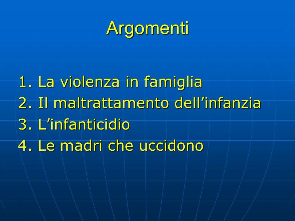 Argomenti 1. La violenza in famiglia 2. Il maltrattamento dellinfanzia 3. Linfanticidio 4. Le madri che uccidono
