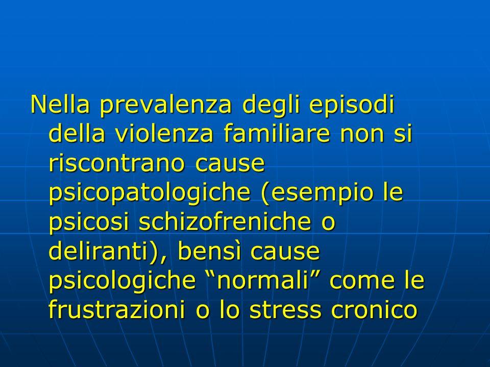 Nella prevalenza degli episodi della violenza familiare non si riscontrano cause psicopatologiche (esempio le psicosi schizofreniche o deliranti), ben