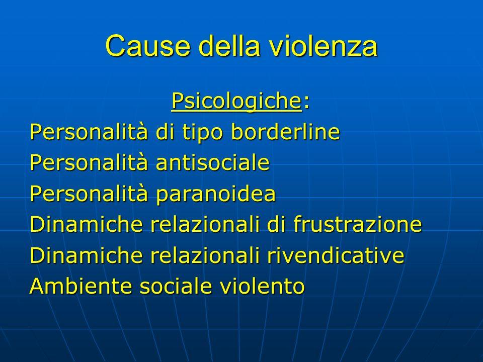 Cause della violenza Psicologiche: Personalità di tipo borderline Personalità antisociale Personalità paranoidea Dinamiche relazionali di frustrazione