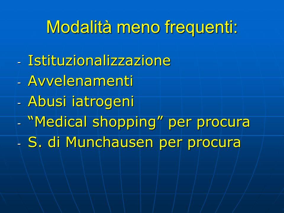 Modalità meno frequenti: - Istituzionalizzazione - Avvelenamenti - Abusi iatrogeni - Medical shopping per procura - S. di Munchausen per procura