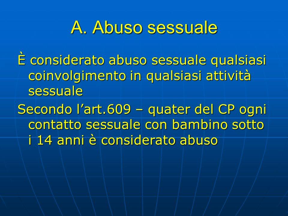 A. Abuso sessuale È considerato abuso sessuale qualsiasi coinvolgimento in qualsiasi attività sessuale Secondo lart.609 – quater del CP ogni contatto