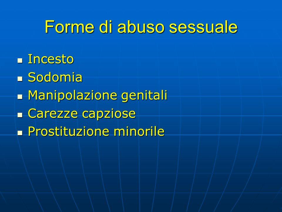 Forme di abuso sessuale Incesto Incesto Sodomia Sodomia Manipolazione genitali Manipolazione genitali Carezze capziose Carezze capziose Prostituzione