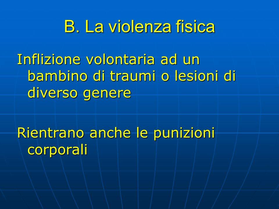 B. La violenza fisica Inflizione volontaria ad un bambino di traumi o lesioni di diverso genere Rientrano anche le punizioni corporali