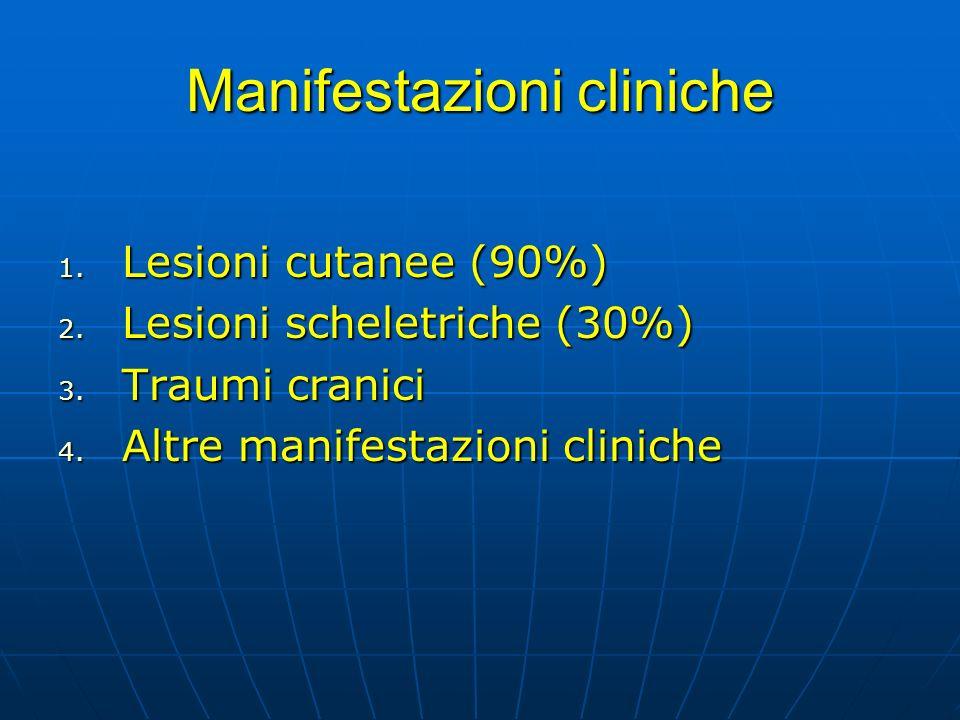 Manifestazioni cliniche 1. Lesioni cutanee (90%) 2. Lesioni scheletriche (30%) 3. Traumi cranici 4. Altre manifestazioni cliniche