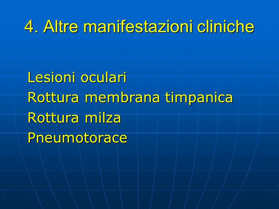4. Altre manifestazioni cliniche Lesioni oculari Rottura membrana timpanica Rottura milza Pneumotorace
