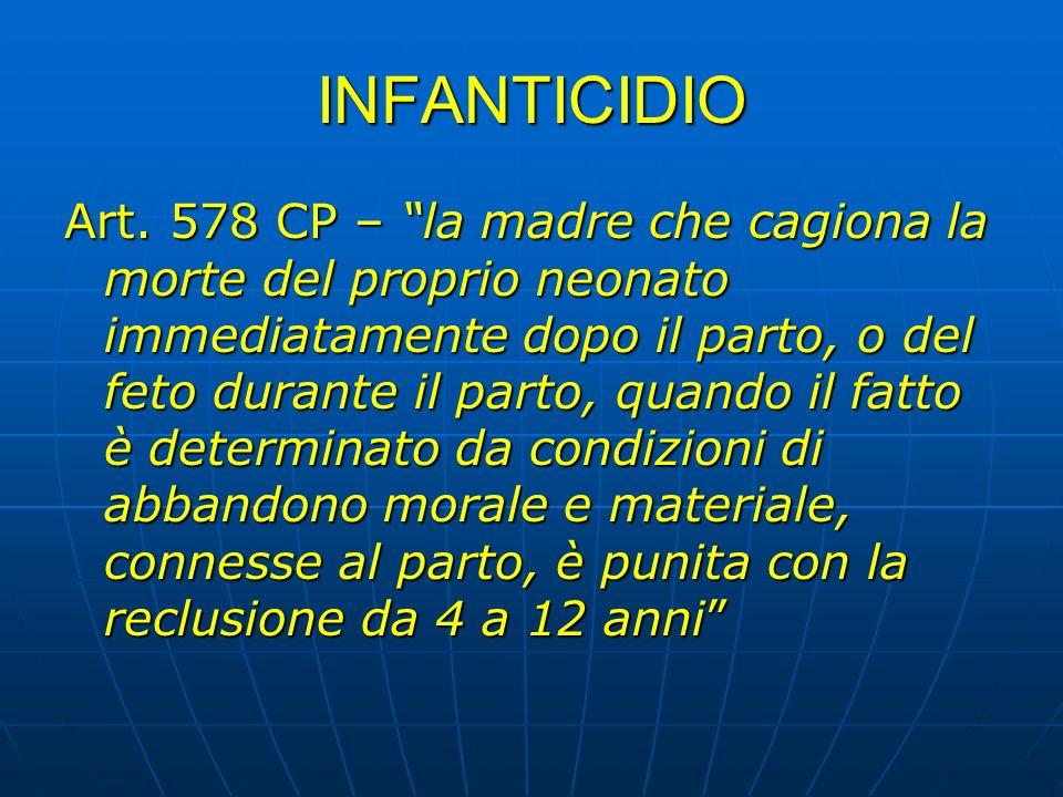 INFANTICIDIO Art. 578 CP – la madre che cagiona la morte del proprio neonato immediatamente dopo il parto, o del feto durante il parto, quando il fatt