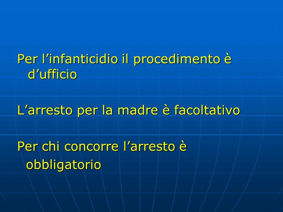 Per linfanticidio il procedimento è dufficio Larresto per la madre è facoltativo Per chi concorre larresto è obbligatorio obbligatorio