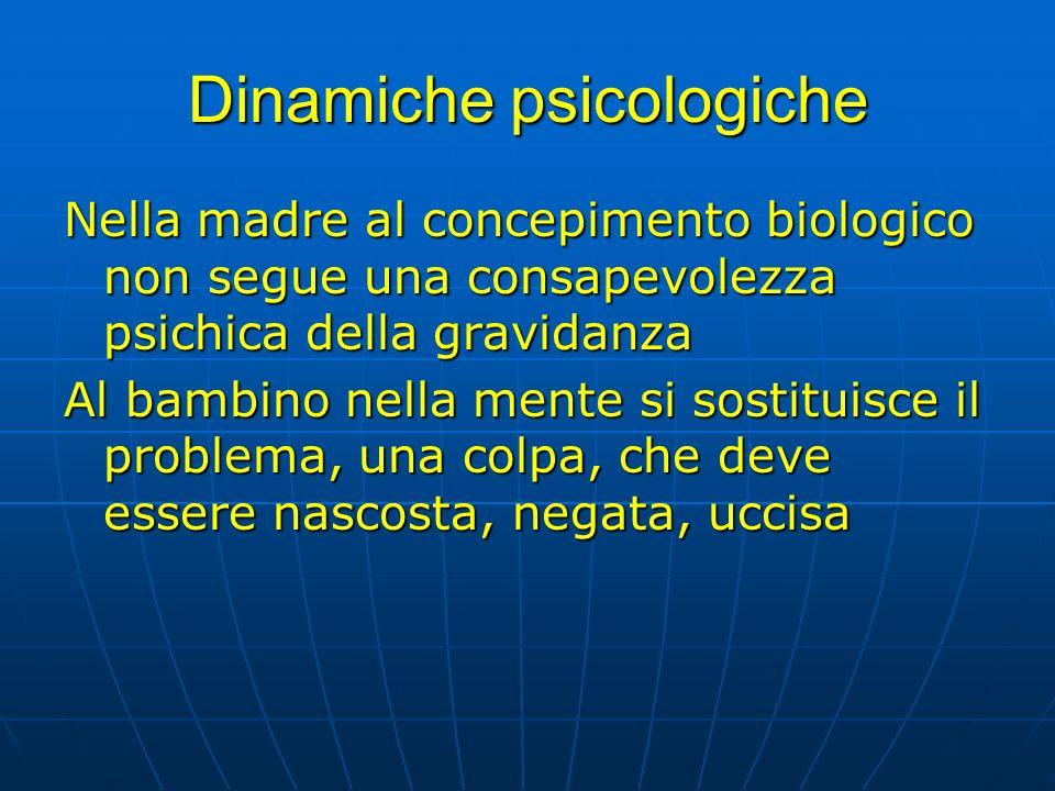 Dinamiche psicologiche Nella madre al concepimento biologico non segue una consapevolezza psichica della gravidanza Al bambino nella mente si sostitui