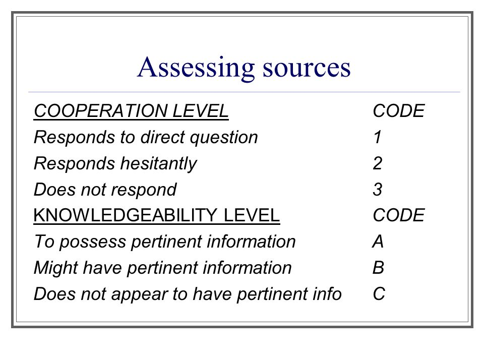 Assessing sources COOPERATION LEVELCODE Responds to direct question 1 Responds hesitantly 2 Does not respond3 KNOWLEDGEABILITY LEVELCODE To possess pertinent informationA Might have pertinent informationB Does not appear to have pertinent infoC