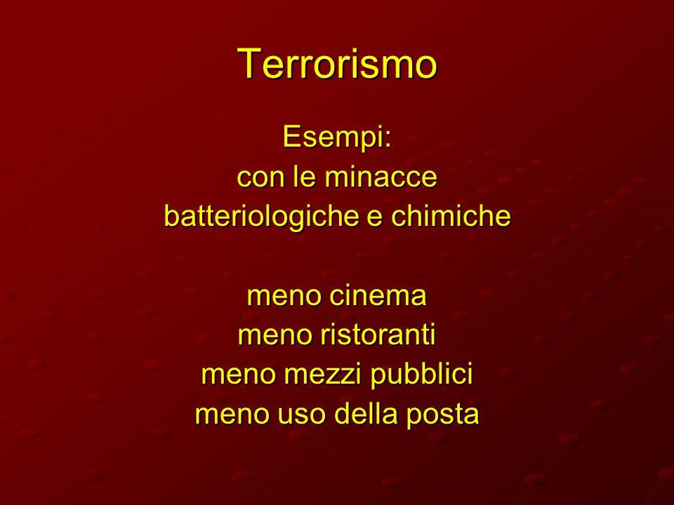 Terrorismo Esempi: con le minacce batteriologiche e chimiche meno cinema meno ristoranti meno mezzi pubblici meno uso della posta