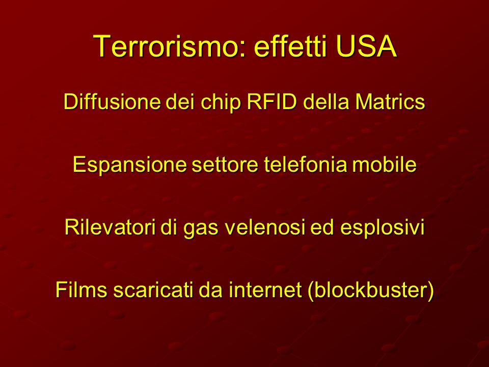 Terrorismo: effetti USA Diffusione dei chip RFID della Matrics Espansione settore telefonia mobile Rilevatori di gas velenosi ed esplosivi Films scari