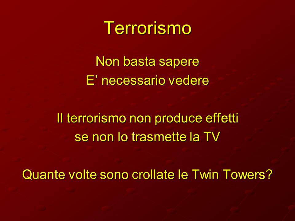 Terrorismo Non basta sapere E necessario vedere Il terrorismo non produce effetti se non lo trasmette la TV Quante volte sono crollate le Twin Towers?